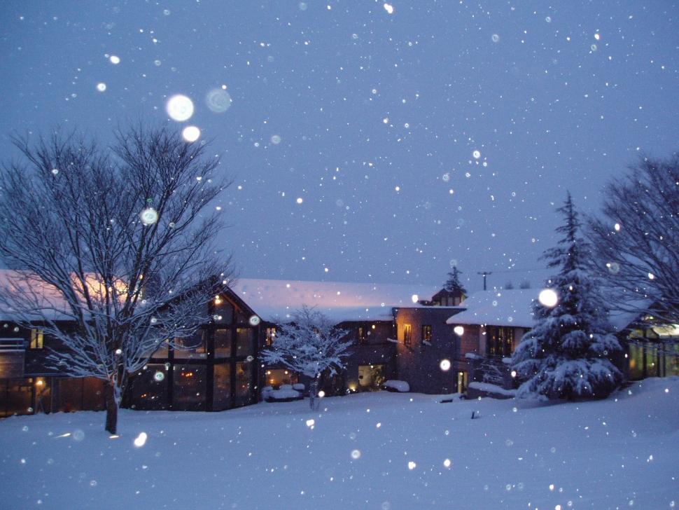 雪化粧をした、あだたら高原空の庭
