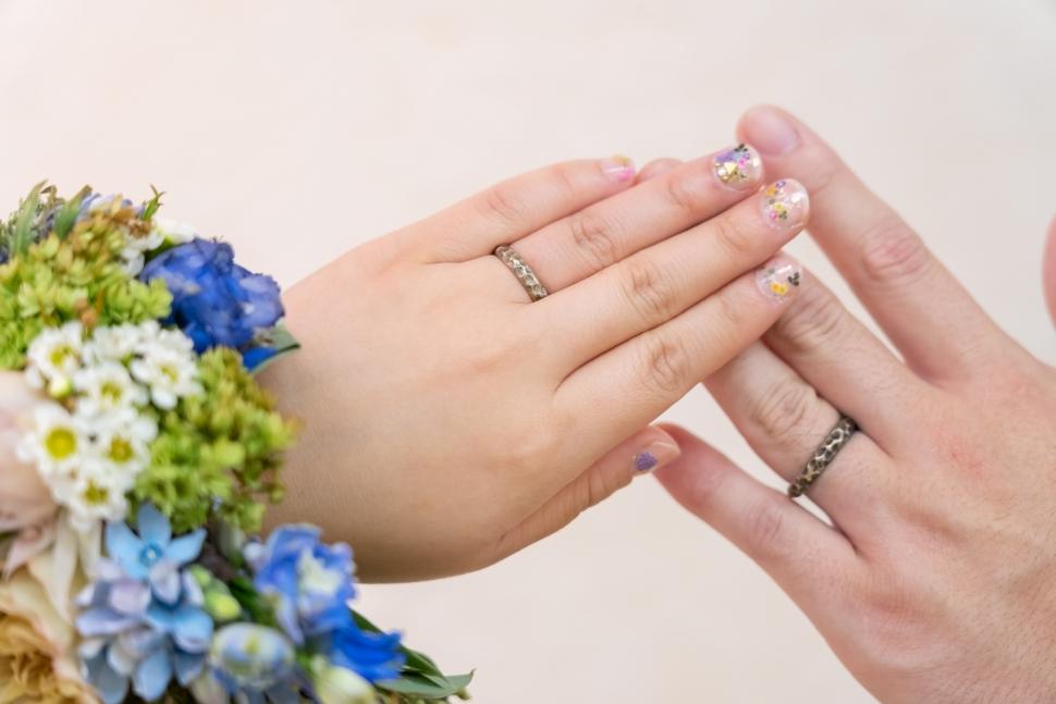 新郎新婦の指輪をつけた写真