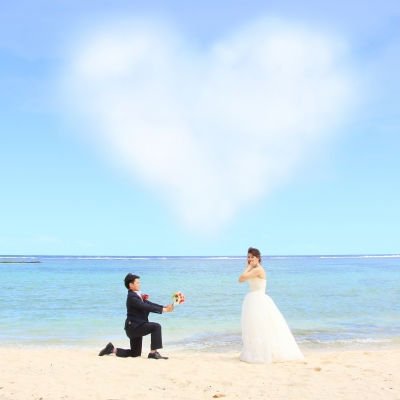 海辺でプロポーズショット